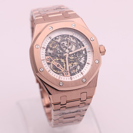 Wholesale Hollow Watch Transparent - luxury brand Royal Oak series 15407 silver stainless steel Rose gold whtie hollow dial transparent rear shell automatic mechanical watch