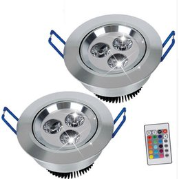 Wholesale 3w Led Round Bulb - 3W 30° 45° Beam Angle RGB LED Ceiling Light AC85-265V Rotatable Downlights Bulb Lamp with Remote Control