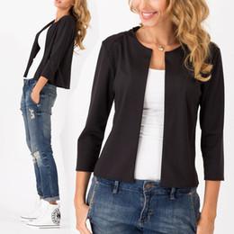 Wholesale Three Quarter Sleeve Suit Jacket - Wholesale- Women Autumn Coats Jackets Slim Three Quarter Short Design Suit Coat Jackets Cardigan Coat Work Jacket High Quality