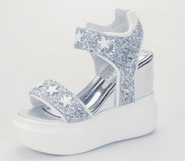 Wholesale Rear Star - Summer Woman Sandals Shoes Women Pumps Platform Wedges High Heels Fashion Casual Solid Loop Bling Star Sequined Cloth Thick Sole Women Shoes