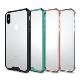 Wholesale Mobile Phone Bag Iphone - For iphone X cell phone cases with iphone 8 plus 7 6s Mobile phone shell air bag drop protection frame transparent silicone factory price