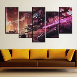 Wholesale female figure oil painting - 5pcs set Wall Art Picture League of Legends Female Assassin Oil Painting Spray Painting on Canvas Unframed Print Wholesale Home Decoration