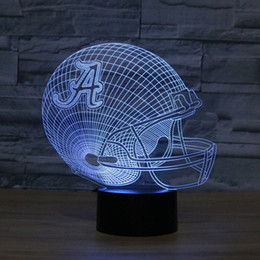 Wholesale Wholesale For Football Helmets - Wholesale- 3D LED Lamp Touch Control Color American Football Helmet Shape 3D Night Light LED Luminaria Bedroom Lighting For Sport Fans Gift