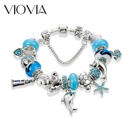 Wholesale Starfish Beads Bracelet - Wholesale- VIOVIA 2017 New Style Dolphin Charm Bracelet for Women Blue Murano Glass Beads Starfish Bracelets & Bangles DIY Jewelry B17009