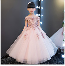 Wholesale Ankle Length Cotton Dresses - Glizt Flower Girls Shoulderless Wedding Dress Bead Appliques Party Tulle Princess Birthday Dress First Communion Gown for Girls
