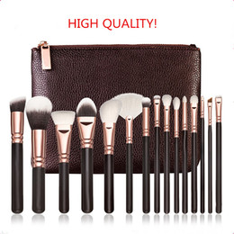 Wholesale Eyeshadow Brush Goat Hair - BRAND Makeup Brush kit ROSE GOLDEN Professional Luxury Set 15pcs Face and Eyeshadow Make Up Tools Kit BRAND Powder Blending brushes FREE DHL