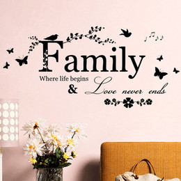 Wholesale room letters decor - Family Letter Art Words Wall Sticker House Living Room Wall Decor Stickers Quotes Love Never Ends Flower Wall Paper