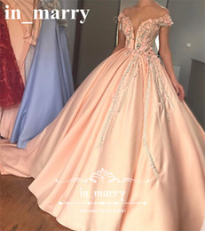 Wholesale Sweet 16 Feather Gown - Off Shoulder Coral Ball Gown Quinceanera Dresses 2017 3D-Floral Crystals Feather Long Satin Sweet 16 Vestido De 15 Anoes Court Train Gowns