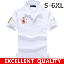 Wholesale Contrast Dress Men - American style Fashion Top quality Big Horse EmbroideryPolo Shirts Men Pure Cotton Short Sleeve Solid Polo Shirt Men's Casual Dress Brand