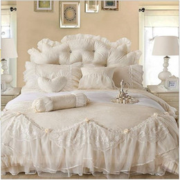 Wholesale Lace Luxury Duvet Sets - Wholesale-2015 Luxury Jacquard Silk princess bedding sets queen king 4pcs Beige Lace Ruffles duvet cover bedspread bed skirt bedclothes