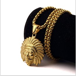 Wholesale Indian Tribal Pendant - New Tribal Chief Pendant Necklace Indian Chief Head Skull Pendant Chain Necklace Hip Hop Men Jewelry free shipping