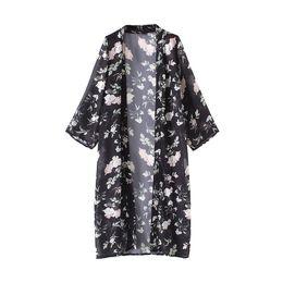 Wholesale Kimono Open Front - Women Long Chiffon Kimono Cardigan Floral Beach Cover Ups Slit Hem Open Front Long Sleeves Bikini Cover Black Plus Size Pareo