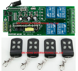 Wholesale Rf Control Systems - Wholesale-85v~250V 110V 220V 230V 4CH RF Wireless Remote Control Relay Switch Security System Garage Doors, Rolling Gate Electric Doors