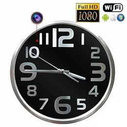 Wholesale Wall Clock Dvr Cameras - Spy Clock Camera P2P Wifi Round Wall Clock IP Camera H.264 1080P Full HD Hidden Pinhole Camera Home security DVR nanny Cam