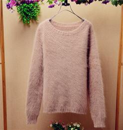 Wholesale Korean Hair Style Ladies - Ladies women Korean style autumn and winter long angora rabbit hair long-sleeeves pullover sweater coat cashmere sweater TC-023
