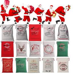 Wholesale deer ornament - Newest Drawstring Bag Christmas bags Halloween Canvas Santa Sack Bags Santa Claus Cute Deer Ornament Christmas Decorations Canvas gift bags