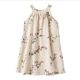 Wholesale Teenage Clothing Wholesalers - Sleeveless Kids Dresses Floral Girls Boutique Clothing with Bow Linen Big Girls Dress 2017 New Design Teenage Dress Girls Outfit