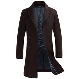Wholesale Long Grey Trench Coat Mens - Wholesale- Top Rated Mens Overcoat 2017 Euro Style Long Trench Coat Men Black Grey Blue Wine Red Men's Long Coat Male Plus Size 3XL