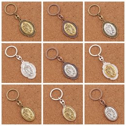 Wholesale Protection Cars - 12pcs lot St. Christopher Medal Keychain Patron Saint Of Travelers and Motorists--2Inches Large Auto Car Protection Key Ring K1741 12Colors