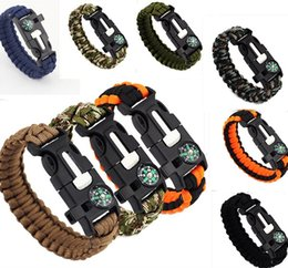 Wholesale Hiking Kits - Outdoor Survival Bracelets 5 in 1 Gear Kits Escape Paracord Bracelet Flint Whistle Compass Scraper for Hiking Camping Fast ShippingD116