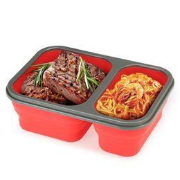 Wholesale Food Cells - Silicone Bento Boxs Collapsible Lunch Boxs 2 Cell Bowl Bento Boxes Folding Food Storage Container Lunchbox Eco-Friendly OOA2172