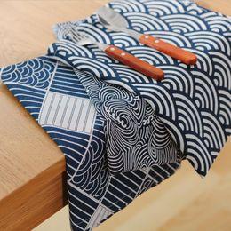 Wholesale Napkin Navy Blue - Wholesale- Western Nordic napkin plaid fabrics linen table mat placemat Japanese style navy blue home decoration
