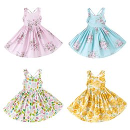 Wholesale Big Girls - Everweekend Girls Floral Print Backless Summer Party Dress Big Girls Cotton Cute Western Party Dresses Wholesale