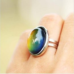 Wholesale Feel Temperature - Wholesale- 2016 Crystal Jewelry Changing Color Mood Ring Temperature Emotion Feeling RINGS MOOD Adjustable Size Gifts event party Supplies