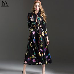 Wholesale Elegant Silk Standing - New Arrival 2017 Women's Stand Collar Long Sleeves Characters Printed Buttons Closure Elegant Fashion Dresses
