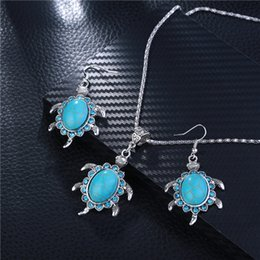 Wholesale China Silver Material Wholesale - hand made alloy material eco-friendly silver plated blue diamond sea turtle pendant earring ladies jewelry set