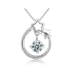 Wholesale Star 3g - Star Crystal Pendant For Necklace 925 Sterling Silver Fashion 100% Honest Material Women Jewelry High Quality 0.7x0.7cm 3g