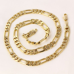 Wholesale 24k Solid Yellow Gold Necklace - women or mens 24k Real solid gold GF figaro chain necklace 8 mm links 60 cm curb Free Gift Case