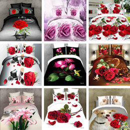 Wholesale Comforter Sets 3d Printing - Free Shipping 4Pcs King 3d bedding set Free shipping red rose sheet set flowers bedclothes (1 Pc Bed Sheet Comforter Cover 2 Pcs Pillowcase)