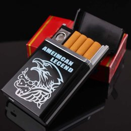 Wholesale Electronic Cigarette Alloy Case - Wholesale-Can be installed 8 cigarettes flameless windproof and rechargeable heating wire electronic usb cigarette case with usb lighter