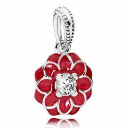 Wholesale Authentic Sterling Silver Bead Charm Enamel Oriental Bloom Dahlia Pendant Beads Fit Women Pandora Bracelet Bangle Diy Jewelry HK3620