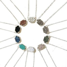 Wholesale Geometric Necklaces - High quality Druzy necklaces women's Luxury Brand Gold&Silver Filled geometric natural Stone Pendants Necklace For Girls Fashion Jewelry