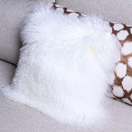 Wholesale Luxury Pillowcases - 100% Tibetan Mongolian Lamb Sheepskin Luxury Wool Fur Leather Pillowcase 20*20in Sofa Cushion Cover Home Bedding Decoration White