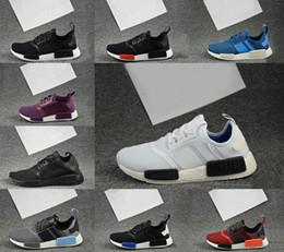Wholesale Knitting Elastic Band - 2017 NMD Runner R1 R2 Primeknit PK OG Black Triple White Nise Kick Knit Men Knitting Shoes Sneakers Original Casual Shoes SIZE US 5-11