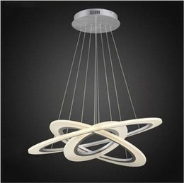 Wholesale Circle Chandelier Light - led sliver chandelier lights circle acrylic hanging lights suspension led pendand lights 30 50 70cm stairway pendant lighting fixture