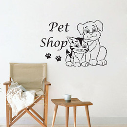Wholesale Pet Graphics - Pet Shop Wall Stickers Decoration Cat And Dog Stickers For Children Waterproof Wallpaper Animals Wall Decals