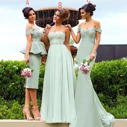 Wholesale Mint Chiffon Evening Dress - Off Shoulder Tea Length Mint Bridesmaid Dresses Mermaid 2017 Mix Style Long Maid Of Honor Party Gowns Backless Evening Dress