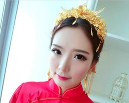 Wholesale Red Chinese Wedding Dress - 2016 new costume bride married headdress phoenix coronet Chinese dress headdress cheongsam dragon and phoenix hairpin hairpin