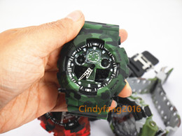 Wholesale Digital Display Box - camo ga100 TOP brand new relogio dual display sports watch GMT army military shocking watches men Casual Watches no box 1pcs