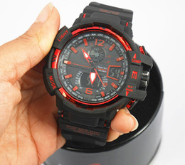 Wholesale plastic black - GA1100+G box relogio men's sports watches, LED chronograph wristwatch, military watch, digital watch, good gift for men & boy, dropship