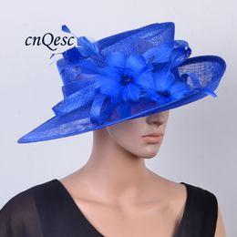 Wholesale Kentucky Derby Hats Royal Blue - NEW Royal blue WIDE brim Formal hat Sinamay Hat for Church Kentucky derby,Races.Brim width 13.5cm.