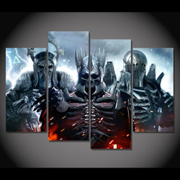 Wholesale Oil Painting Hunting - 4 Pcs Set Framed HD Printed The Witcher Wild Hunt Game Picture Wall Art Canvas Print Decor Poster Canvas Modern Oil Painting