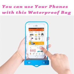 Wholesale Iphone Rain Case - Clear Dry Bag 30M Waterproof Protective Pouch Case Compass Bags Rain Diving Swimming Sports For phone iphone 6 7 plus smart touch screen