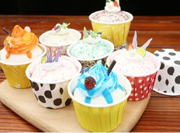 Wholesale Paper Hot Cups - Hot selling 1000pcs Mixed color Round MUFFIN Paper Candy Cake Cup Cake case with White Dot