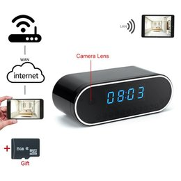 Wholesale Ir Spy Night Vision Camcorders - 1080P WiFi Wireless Spy Camera Clock Hidden DVR 8G HD Video Spy Clock IP Cam Motion Detection Recorder with 12pcs IR Night Vision Camcorder