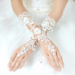 Wholesale Ivory Elbow Length Wedding Gloves - Bridal Ivory color Fashionable Design Wedding Accessories Elbow Length Bridal Gloves High Quality Fingerless Lace Wedding Gloves